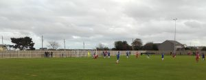 Action from Helston Athletic v Team Solent in the first-ever FA Vase game to be played at Kellaway Park.